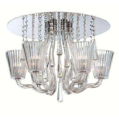 Corato Collection 6-Light Chrome and Clear Flushmount