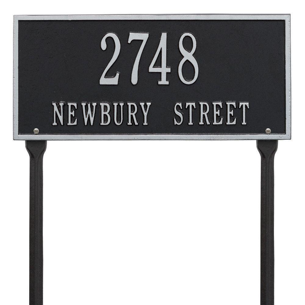 Hartford Rectangular Black/Silver Standard Lawn 2-Line Address Plaque