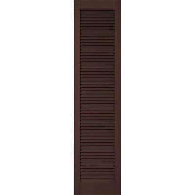18 in. x 67 in. Lifetime Vinyl Custom Straight Top All Open Louvered Shutters Pair Federal Brown
