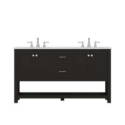 Wilmington 60 in. W x 34.2 in. H x 22 in. D Vanity in Espresso with Marble Vanity Top in White with White Basin