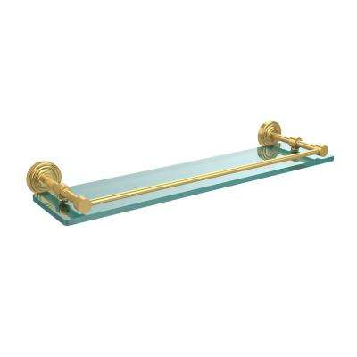 Waverly Place 22 in. L x 3 in. H x 5 in. W Clear Glass Bathroom Shelf with Gallery Rail in Polished Brass