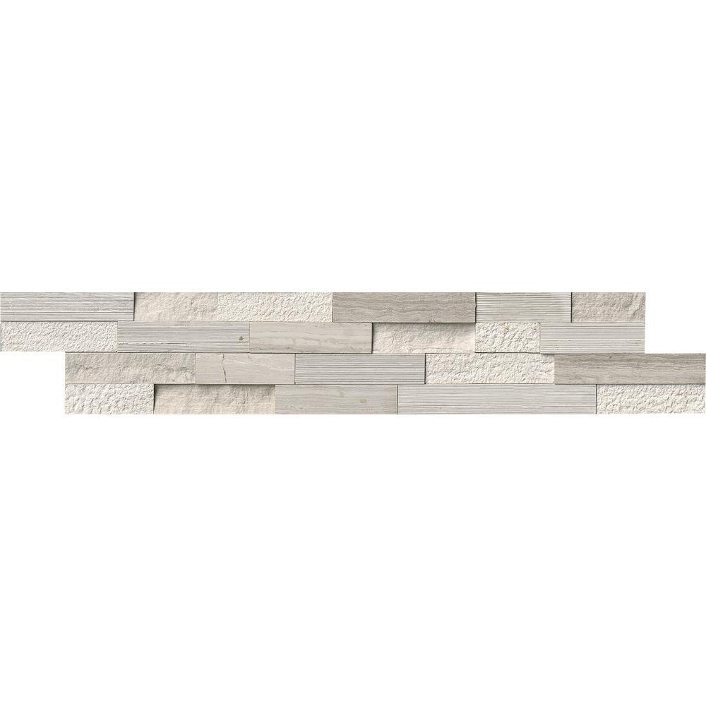 White Oak Multi Splitface Ledger Panel 6 in. x 24 in. Marble Wall Tile (10 cases / 60 sq. ft. / pallet)