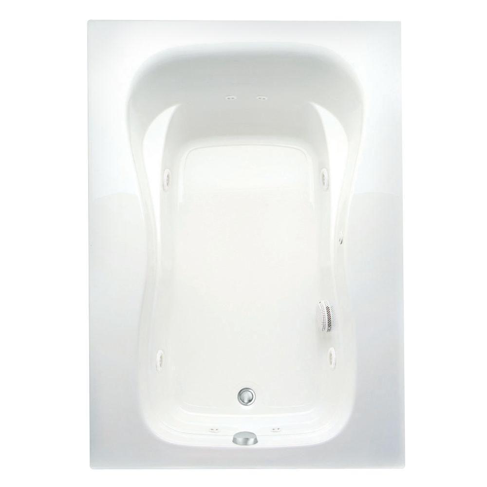 Aquatic Marratta 5 ft. Acrylic Left Drain Rectangular Apron Front Whirlpool Bathtub with Heater in White