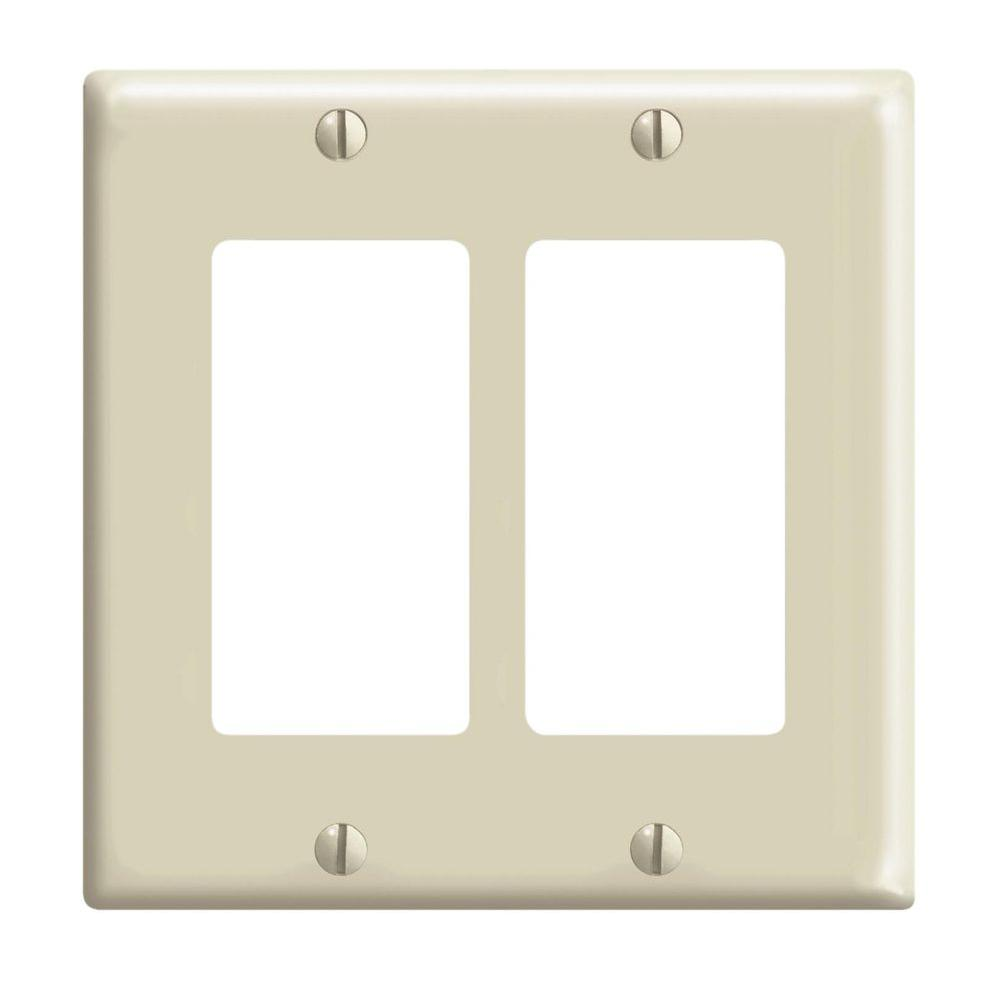 Leviton Decora 2 Gang Wall Plate Ivory R51 80409 00i The Home Depot Wiring Gfci Switch