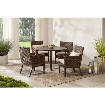 Fernlake 5-Piece Taupe Wicker Outdoor Patio Dining Set with CushionGuard Chalk White Cushions
