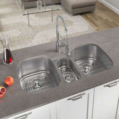 All-in-One Undermount Stainless Steel 43 in. Triple Bowl Kitchen Sink