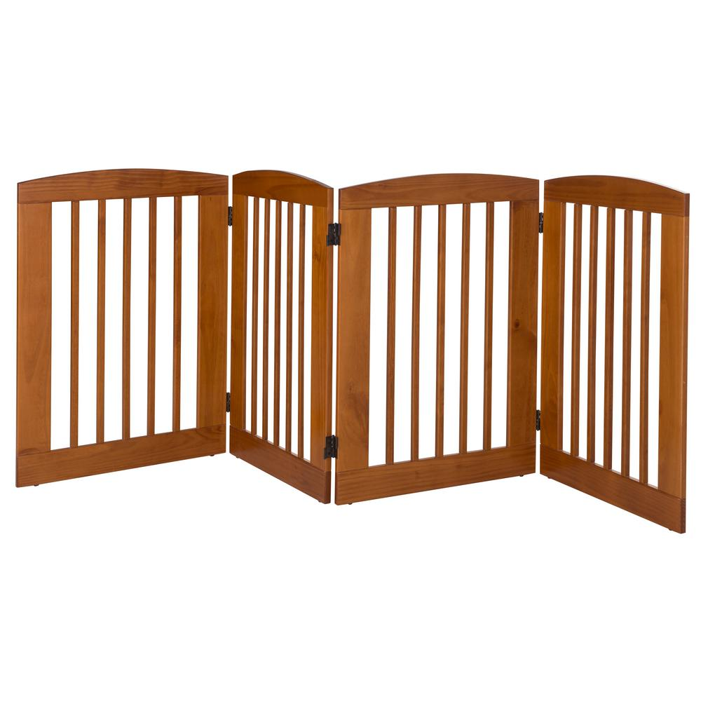 Ruffluv 36 in. H Wood 4-Panel Expansion Chestnut Pet Gate