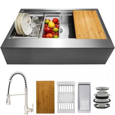 Handmade All-in-One Farmhouse Stainless Steel 33 in. x 22 in. Single Bowl Kitchen Sink w/ Spring Neck Faucet, Accessory