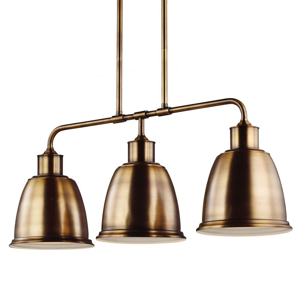 Hobson 3-Light Aged Brass Island Light
