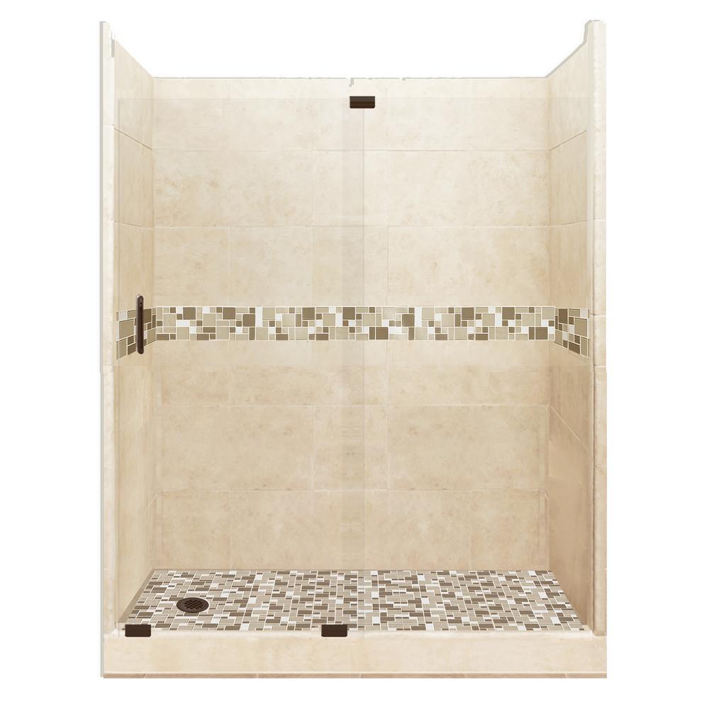 Tuscany Grand Slider 30 in. x 60 in. x 80 in. Left Drain Alcove Shower Kit in Desert Sand and Old Bronze Hardware