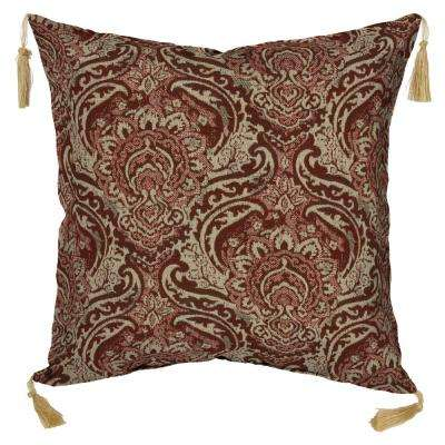 Venice Pomegranate Square Outdoor Throw Pillow with Tassels (Pack of 2)