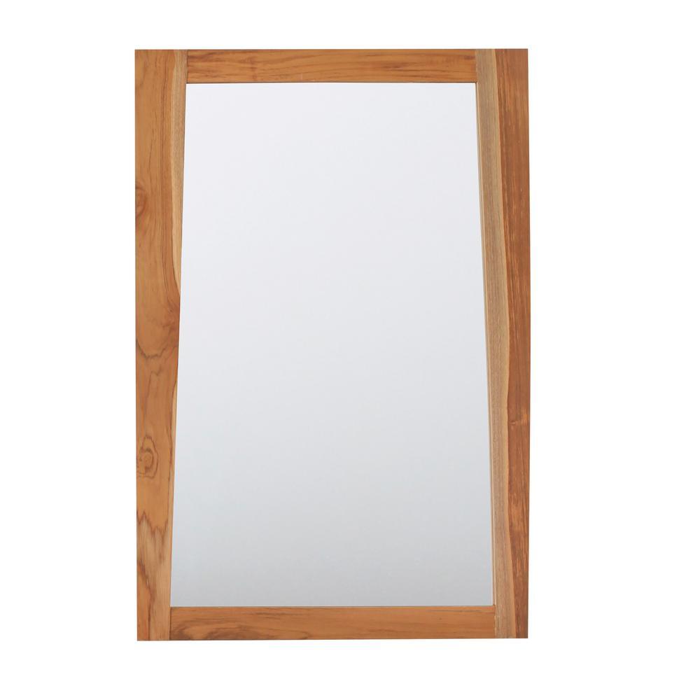 Significado 24 in. L x 35 in. H Single Solid Teak Framed Mirror In Natural Teak