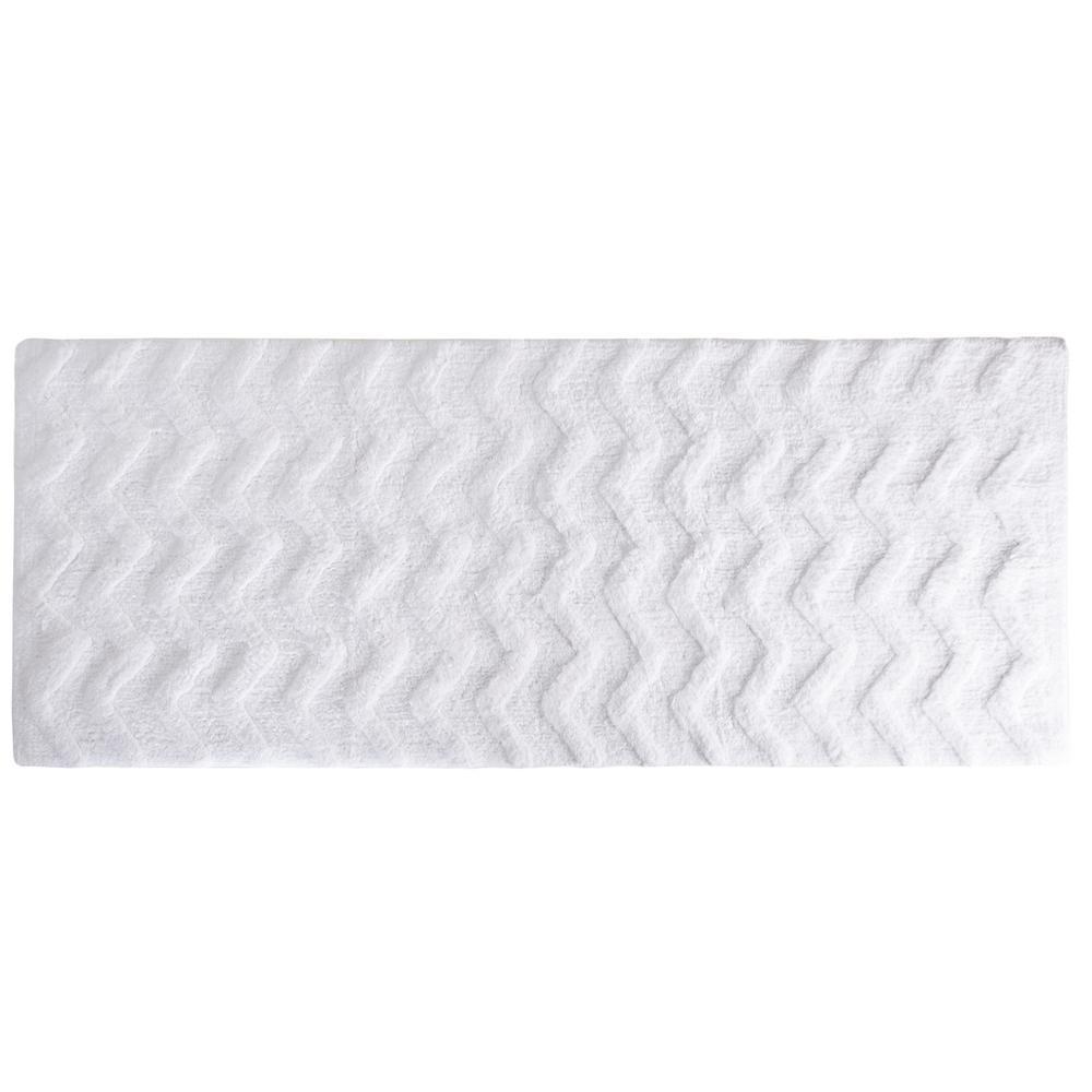 Chevron White 24 in. x 60 in. Bathroom Mat