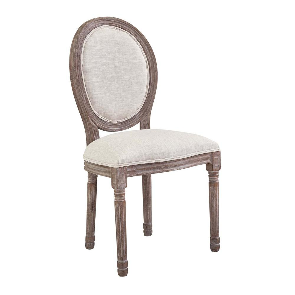 Modway Emanate Vintage Beige French Upholstered Fabric Dining Side Chair