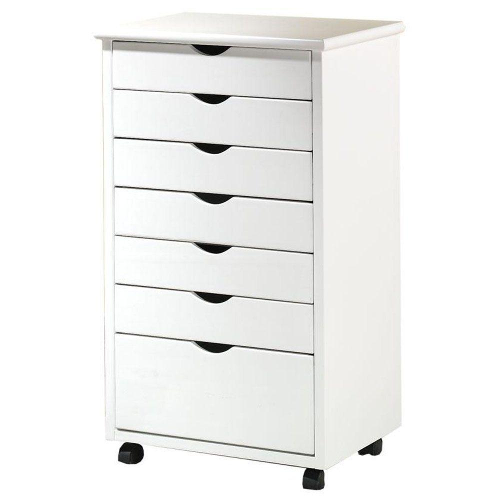 home decorators collection stanton wide 7-drawer cart in white 1 drawer file cabinet