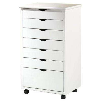 Stanton Wide 7-Drawer Cart in White