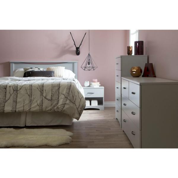 South Shore Step One Soft Gray Queen Headboard 10108