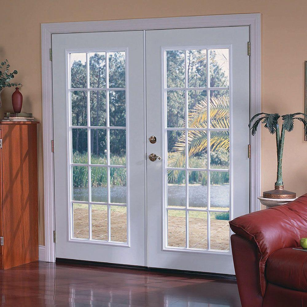 Masonite 72 In X 80 Primed White Steel Prehung Left Hand Inswing 15 Lite Clear Gl Patio Door With Brickmold