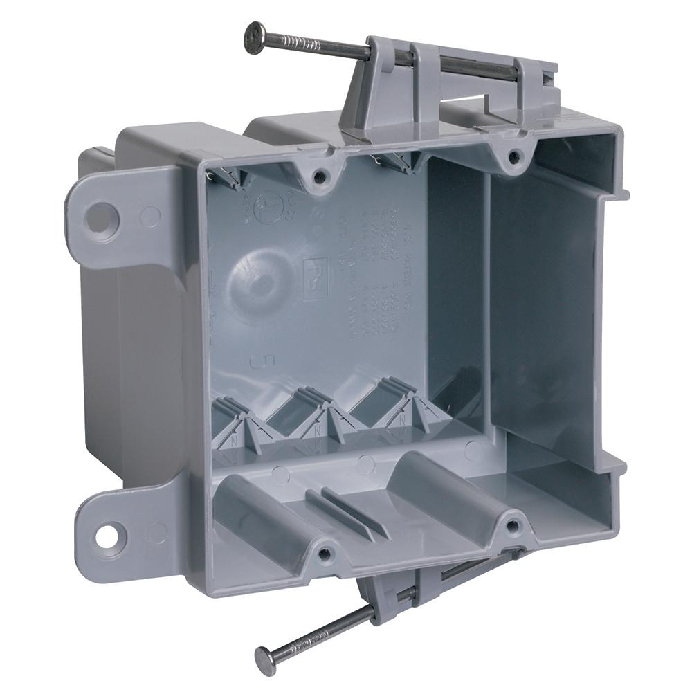 Slater New Work Plastic 2-Gang Captive Mounting Nails Switch and Outlet on