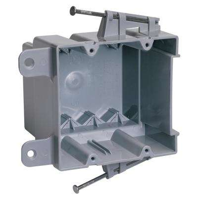 Slater New Work Plastic 2-Gang Captive Mounting Nails Switch and Outlet Box