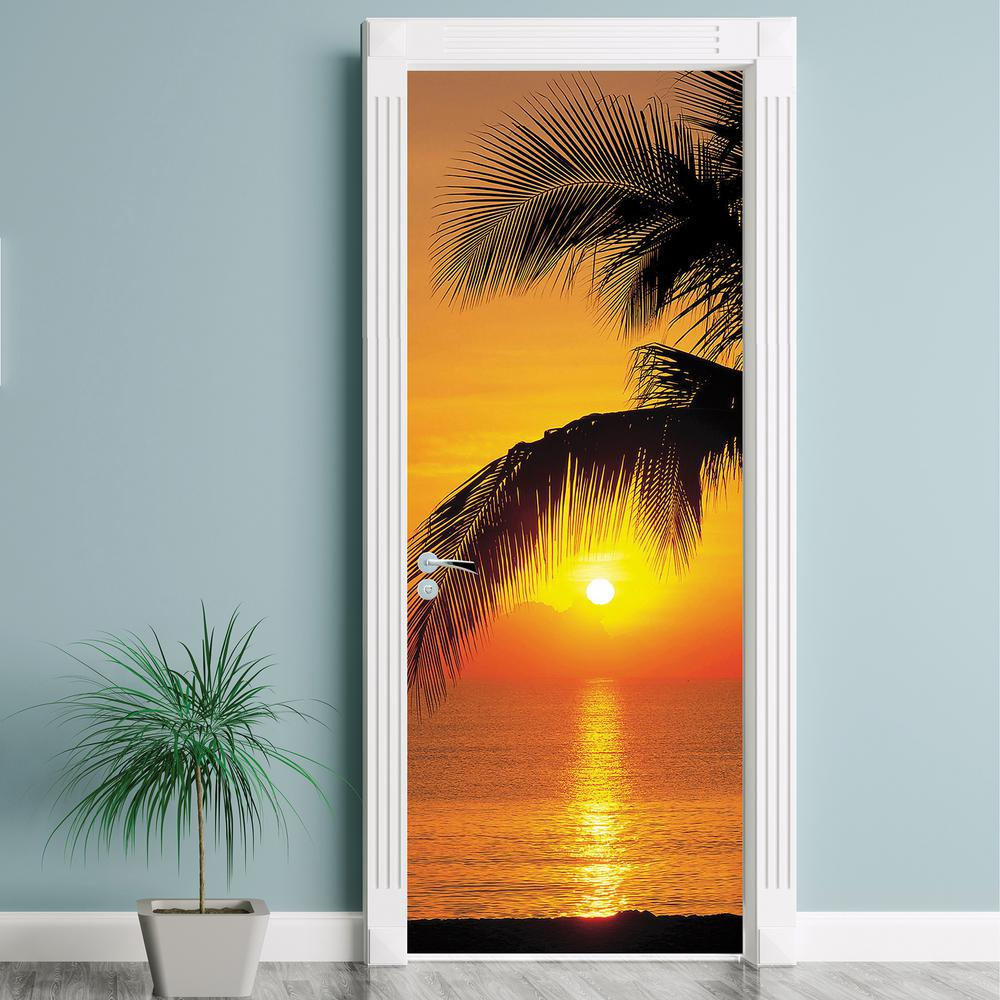 Komar 87 in. x 36 in. Palmy Beach Sunrise Wall Mural