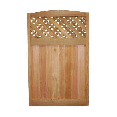 4 ft. x 2.5 ft. Western Red Cedar Supreme Lattice Deluxe Arched Fence Panel
