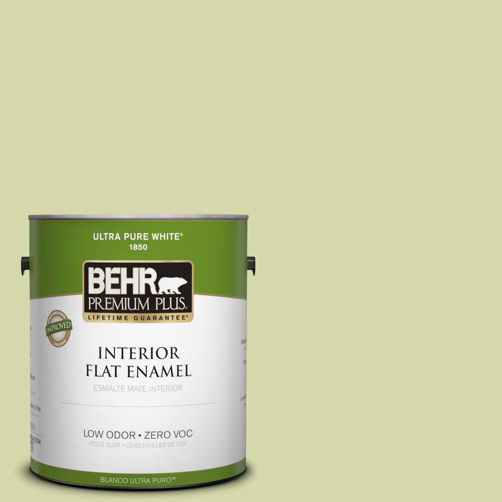 BEHR Premium Plus 1-gal. #410C-3 Celery Sprig Zero VOC Flat Enamel Interior Paint-DISCONTINUED