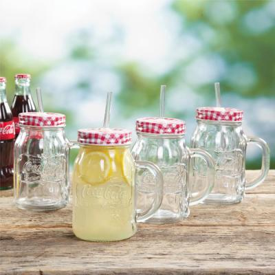Coca-Cola Country Classic 4-Piece Clear Glass Mason Jar with Lid and Straw Set