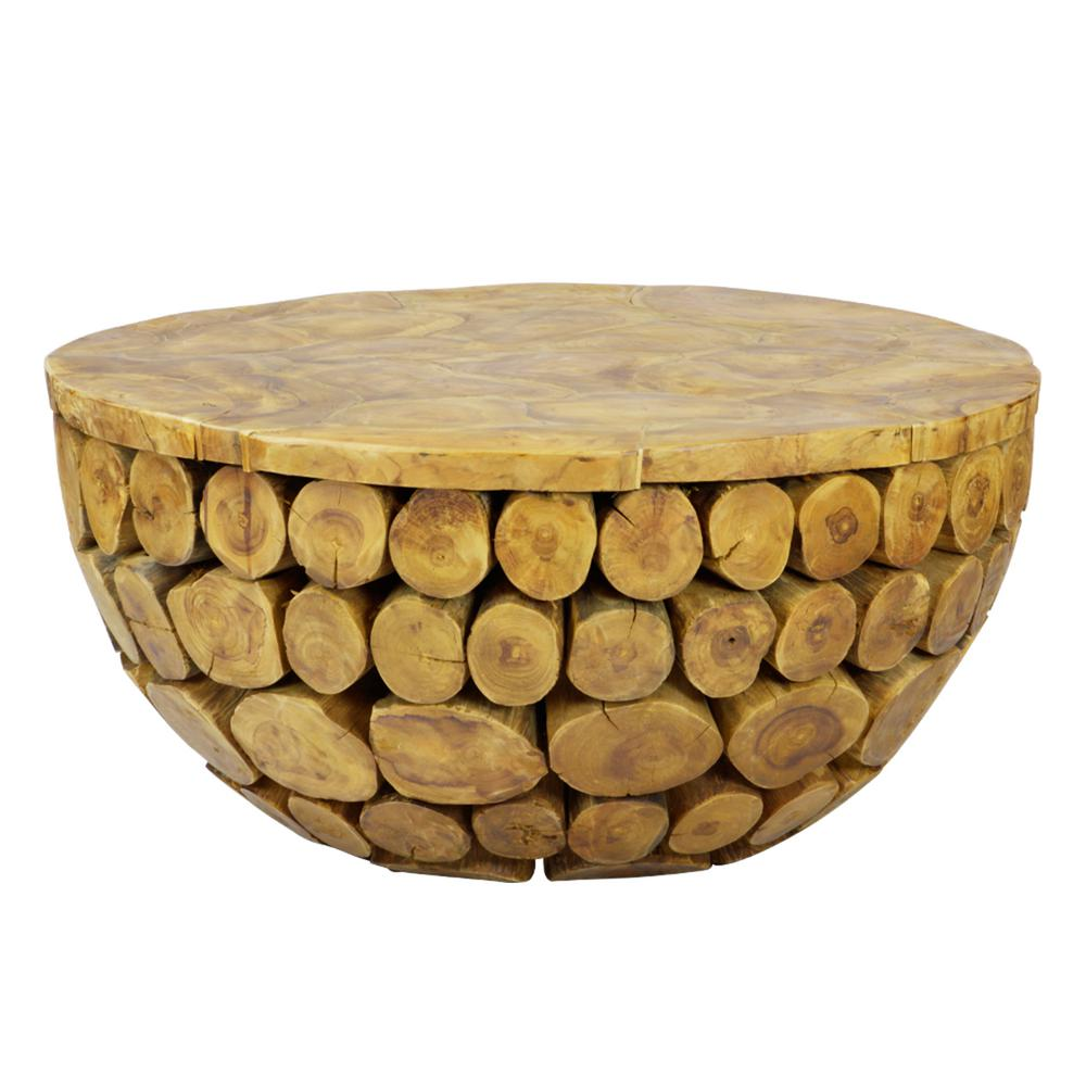 Lux Home Sumatra Solid Natural Teak Wood Round Deco Coffee Table