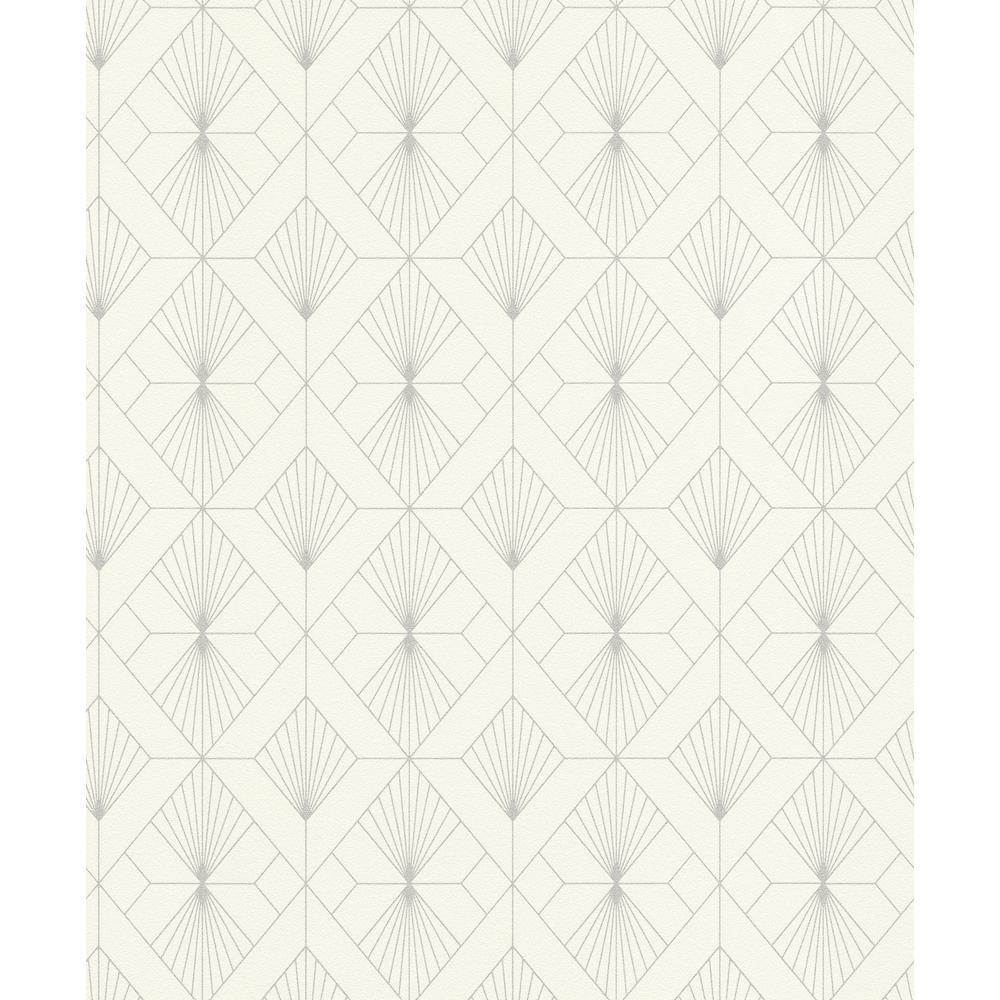 8 in. x 10 in. Henri Off-White Geometric Wallpaper Sample