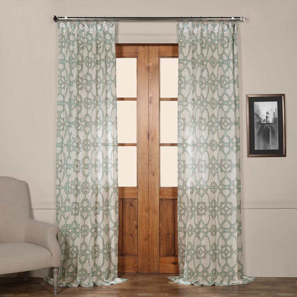 SeaGlass Printed Sheer Curtain in Blue - 50 in. W x 96 in. L