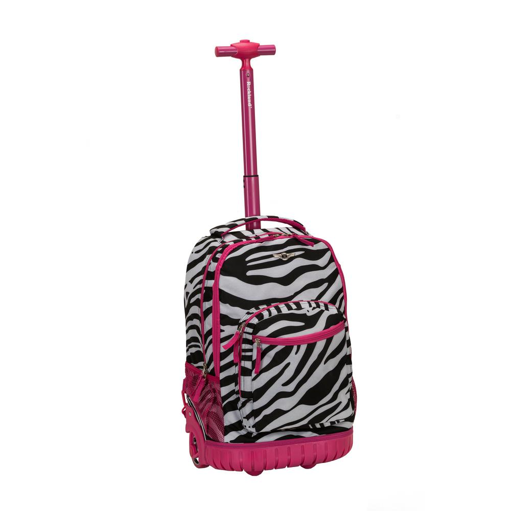 Rockland 19 in. Pinkzebra Rolling Backpack
