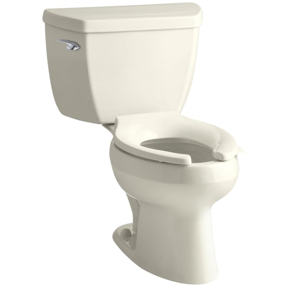 KOHLER Wellworth Classic 2-Piece 1.6 GPF Single Flush Elongated Toilet in Biscuit
