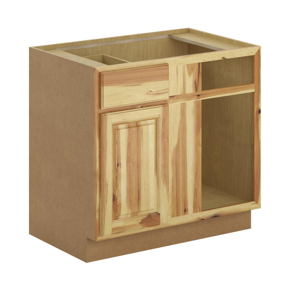 Hampton Bay Madison Assembled 36x34 5x24 In Blind Corner Base Cabinet In Pure Hickory