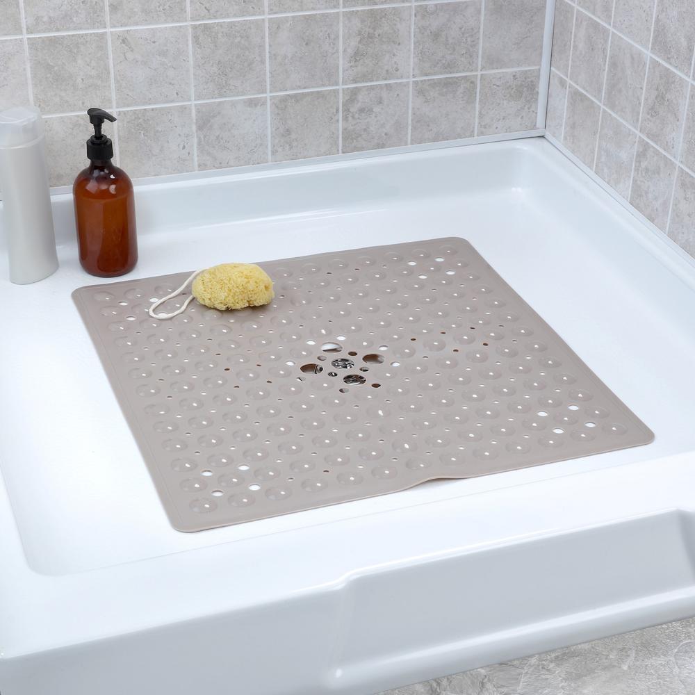 21 in. x 21 in. Square Shower Mat in Tan