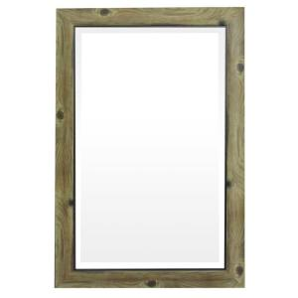 Yosemite Home Decor Mirror with Frame in Gray Wood with Black Trim by Yosemite Home Decor