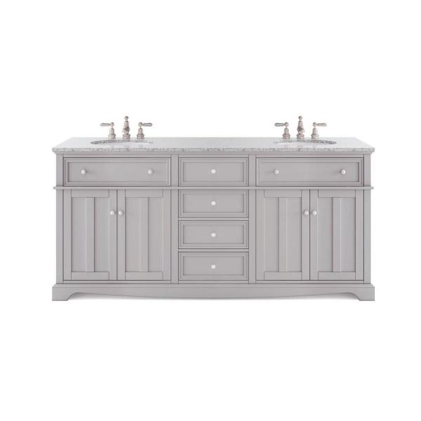 Reviews For Home Decorators Collection Fremont 72 In W X 22 In D Double Vanity In Grey With Granite Vanity Top In Grey With White Sink Md V1791 The Home Depot