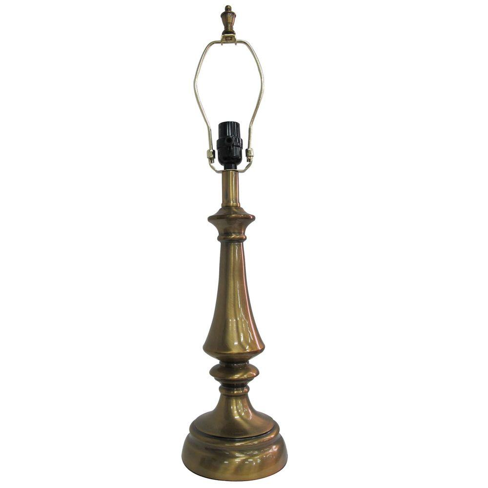 Hampton Bay Mix Match 26 75 In Antique Brass Round Table Lamp