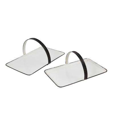 2-Piece White Iron Serving Tray Set with Round Metal Handles