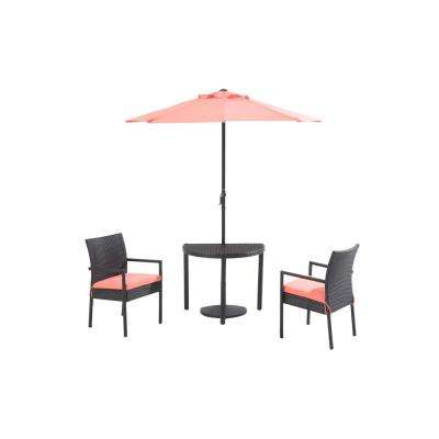Half Round 4-Piece Patio Bistro Set with Coral Cushions