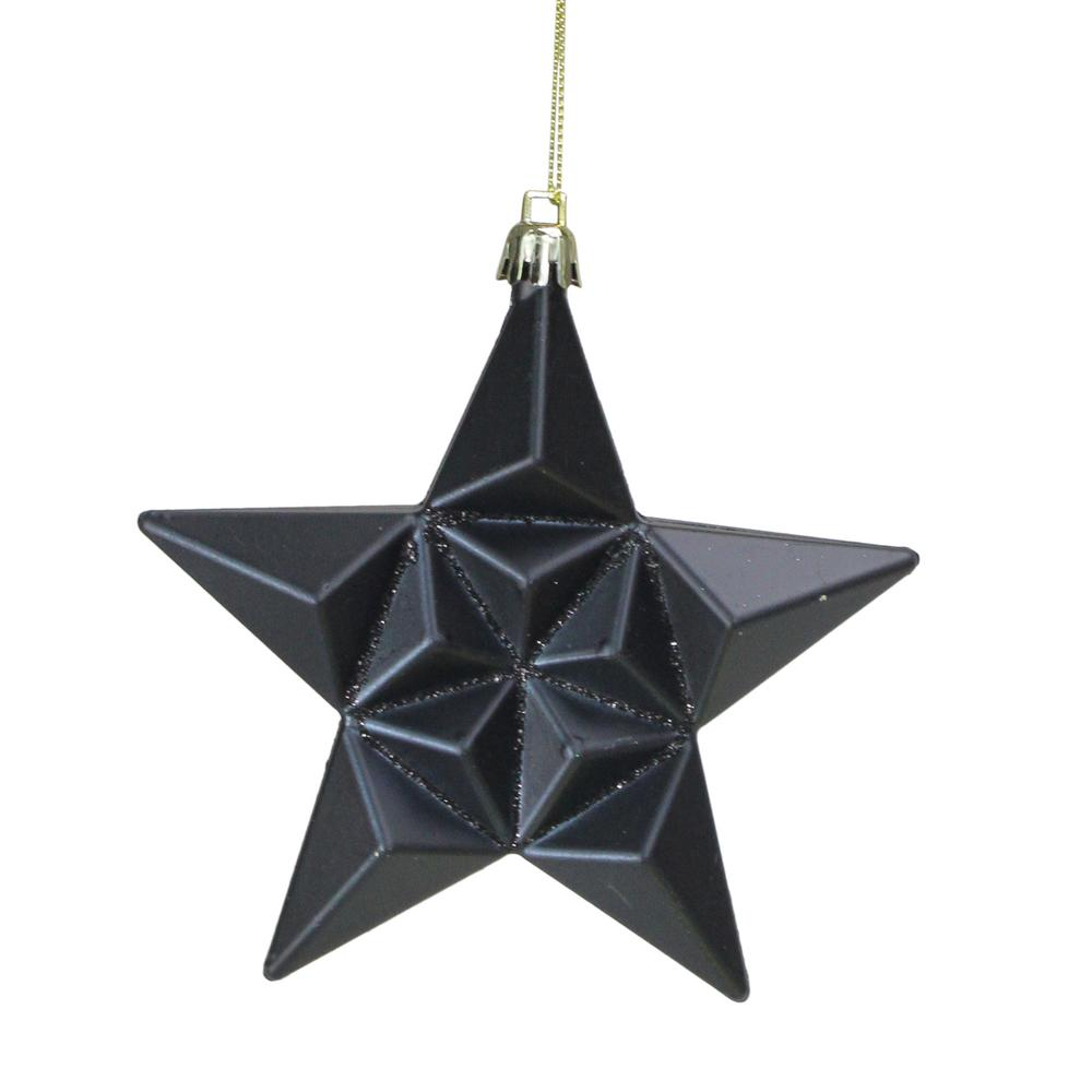 5 In Matte Jet Black Glittered Star Shatterproof Christmas Ornaments 12 Count