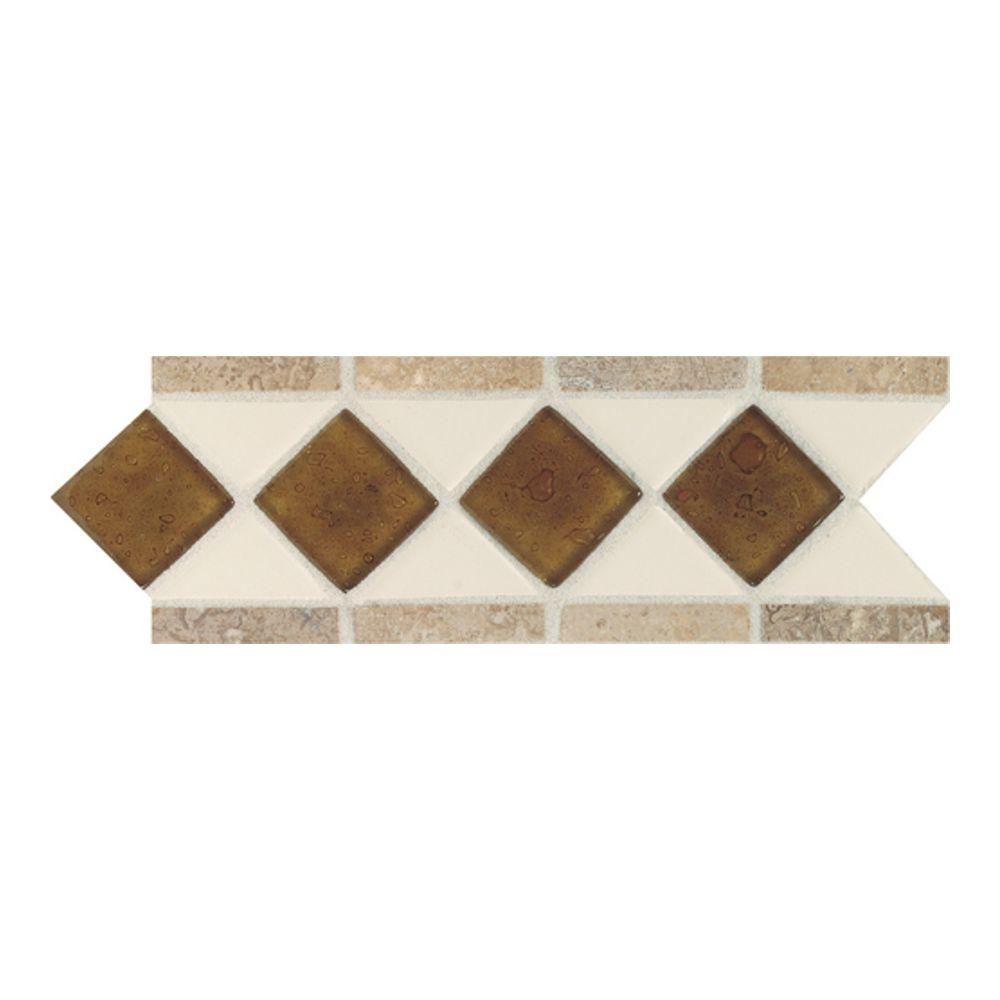 Fashion Accents Almond 4 in. x 11 in. Glass and Stone