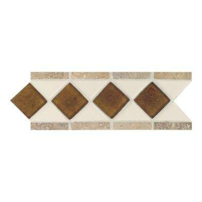 Fashion Accents Almond 4 in. x 11 in. Glass and Stone Decorative Wall Tile