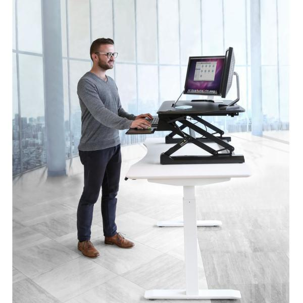 Seville Classics Airlift Black 35 4 In Height Adjustable Standing Desk Converter Workstation With Dual Monitor Riser And Keyboard Tray Off65807 The Home Depot