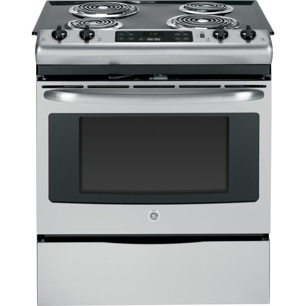 GE 30 in. 4.4 cu. ft. Slide-In Electric Range with Self-Cleaning Oven in Stainless Steel