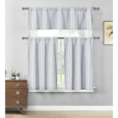 Kylie Jeans Blue-White Kitchen Curtain Set - 58 in. W x 15 in. L in (3-Piece)