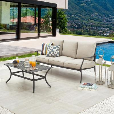 2-Piece Metal Patio Deep Seating Set with Beige Cushions
