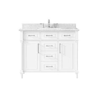 Norris 20 in. W x 16 in. D Bath Vanity in Midnight Blue with Ceramic Vanity top in White with White Basin