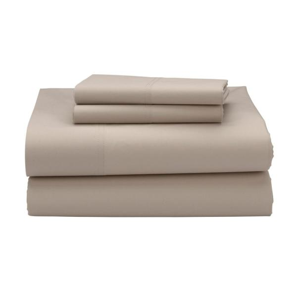 The Company 4 Piece Light Birch 300 Thread Count Percale Queen Sheet Set