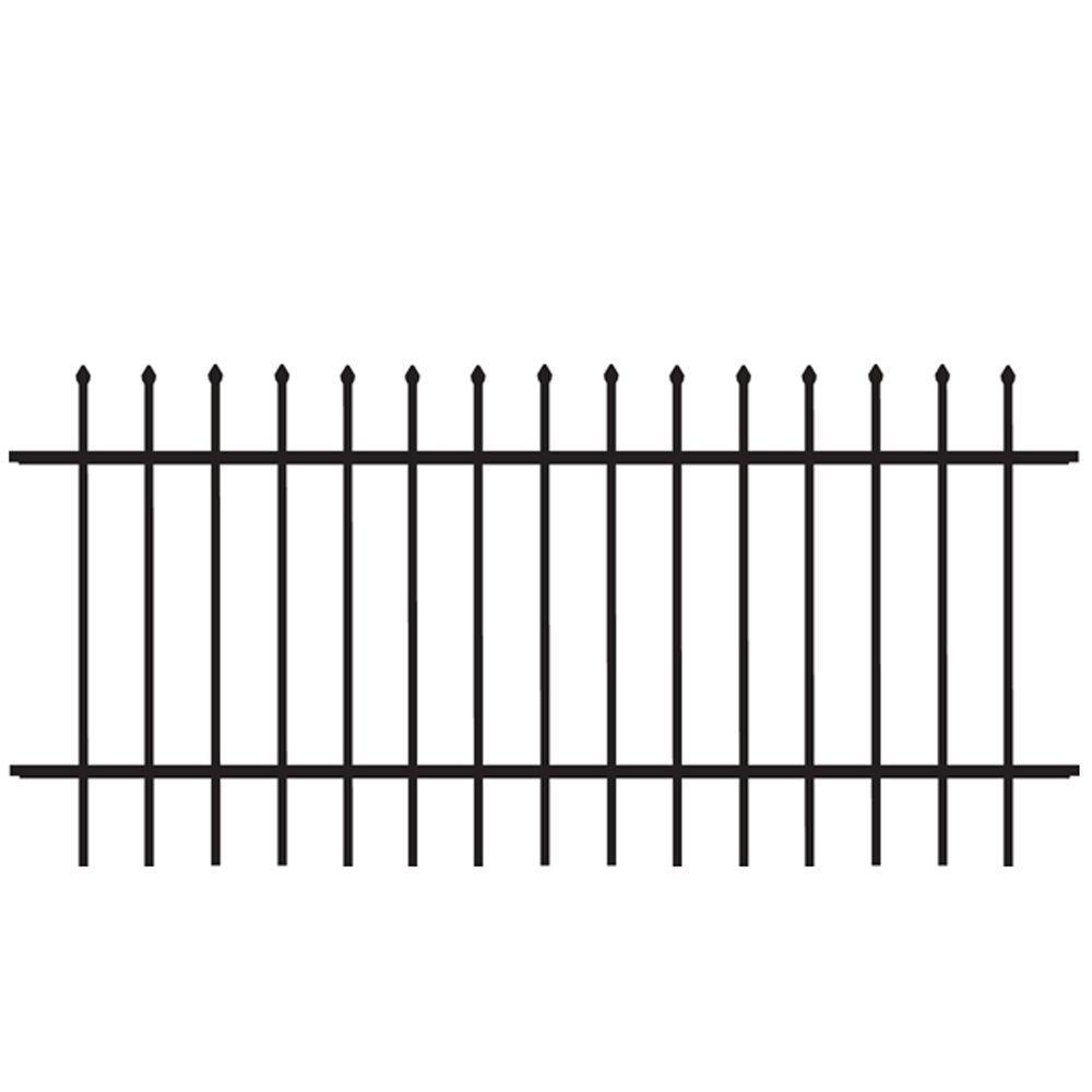 Cascade Standard-Duty 3 ft. H x 6 ft. W Black Aluminum Pre-Assembled Fence Panel